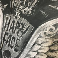 黒板アート ぎんのいすARTWORKS 奈良チョークアート 天使の羽 subaco