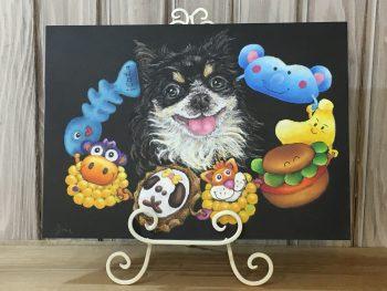 奈良チョークアート教室,ぎんのいすart works, ペット肖像画 ,チワワ  ,チョークアート