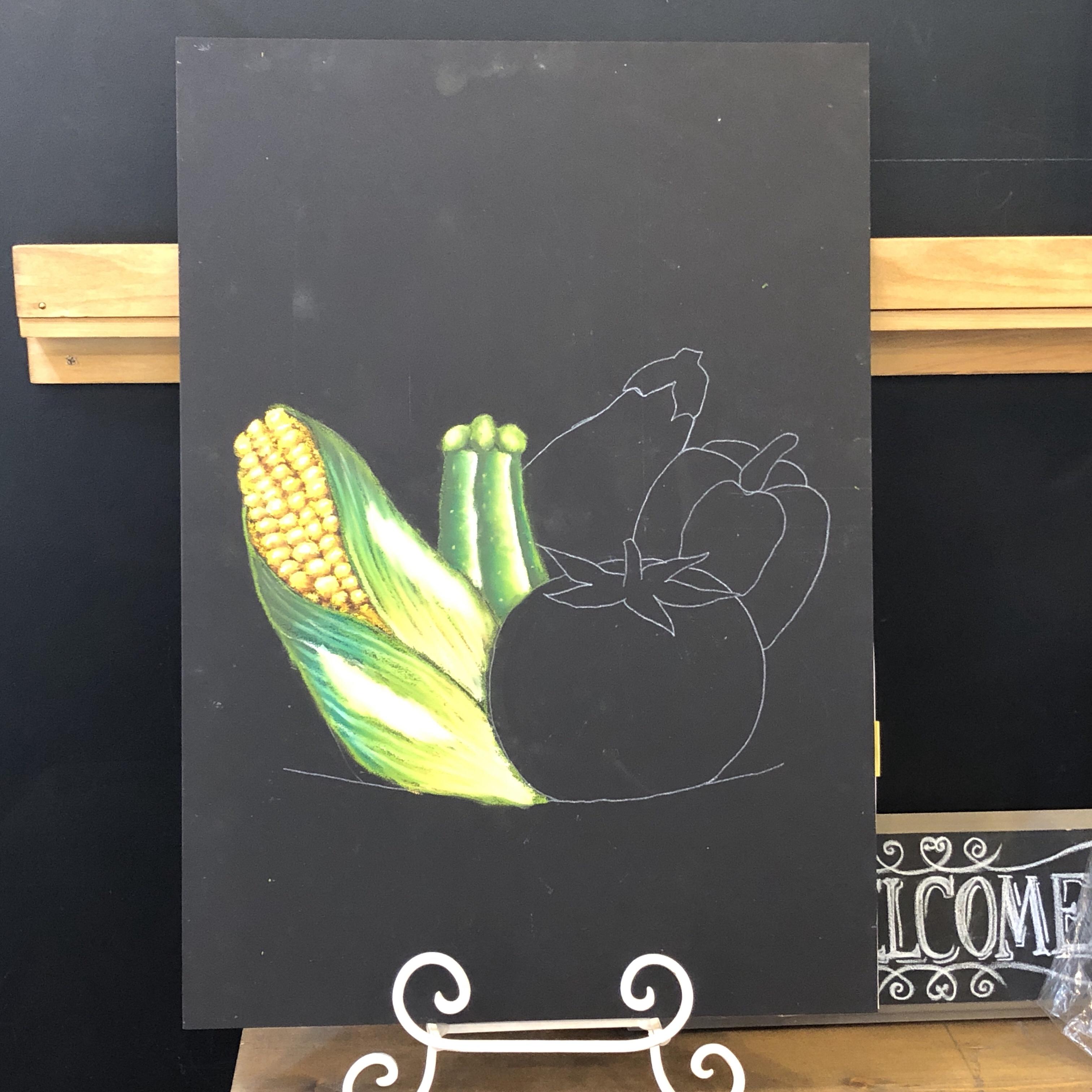 チョークアート ぎんのいすART WORKS レッスン トウモロコシ