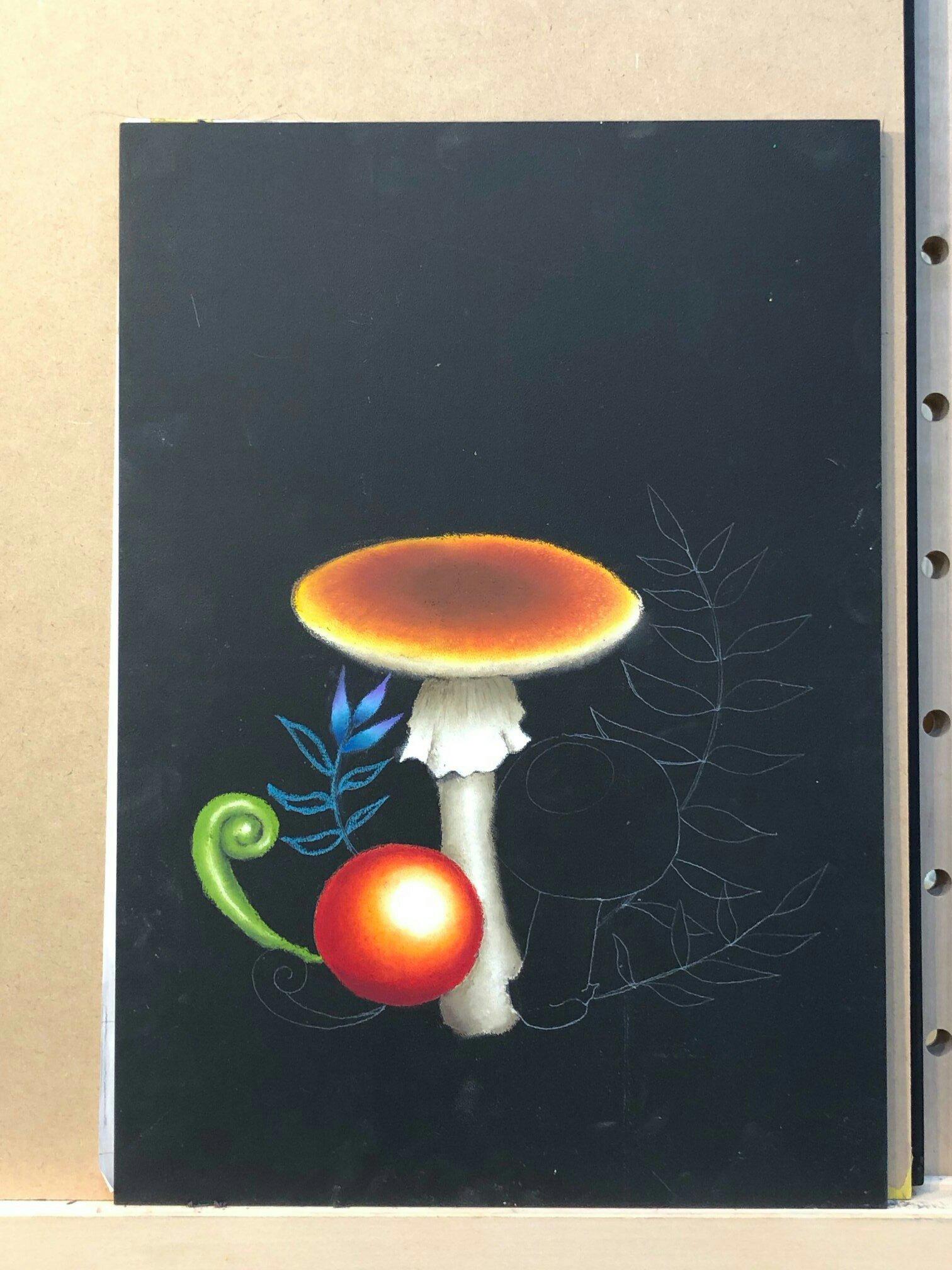 チョークアート  chalkart  基礎過程  レッスン  キノコ  茸  赤い球体