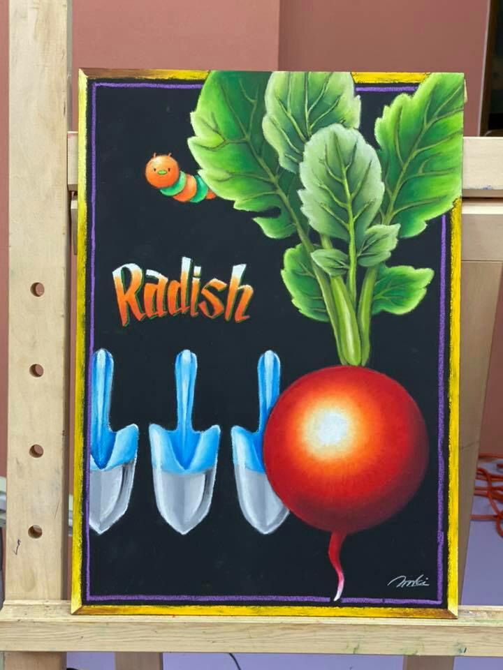 チョークアート  chalkart  赤くて丸いもの  ラディッシュ