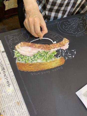 サンドイッチ チョークアート