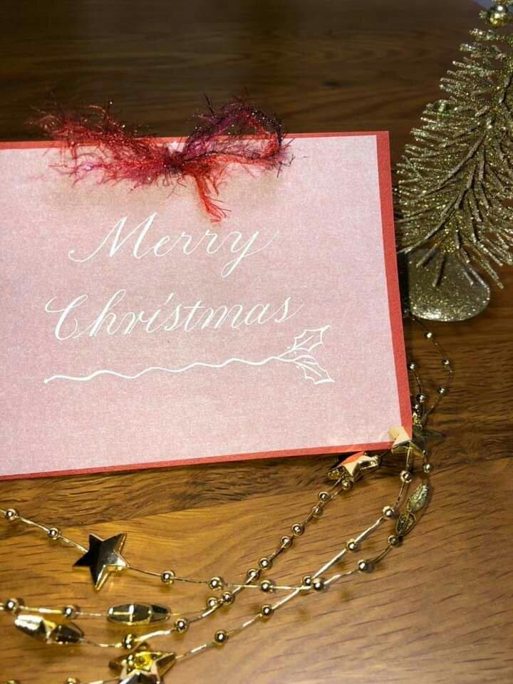 ワークショップ  カリグラフィー  カッパープレート  1日レッスン  クリスマス  クリスマスカード